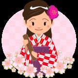 商用フリー・無料イラスト_大学卒業式_袴姿の女の子_矢絣_赤__桜花びらsotsugyo020