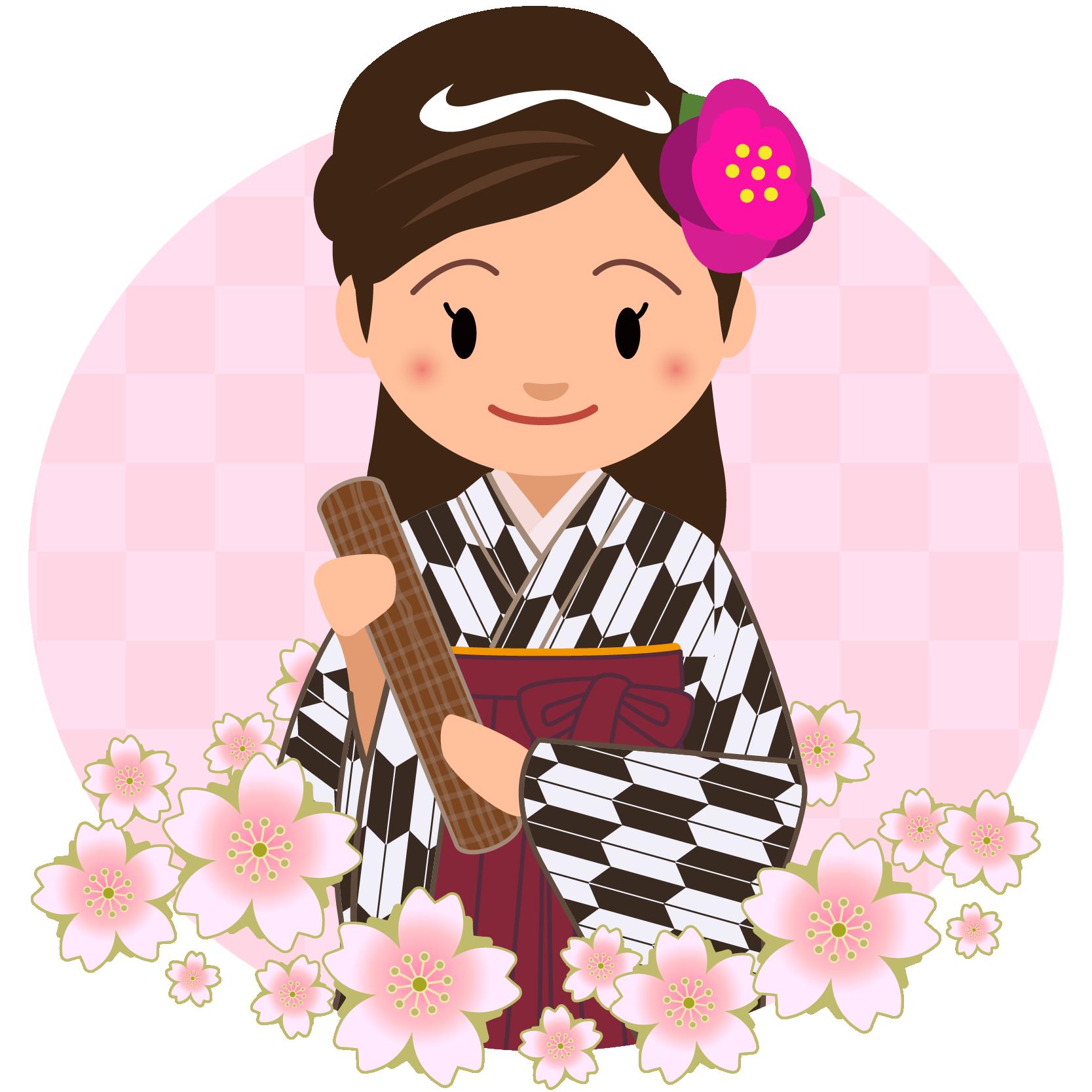 商用フリー・無料イラスト_大学卒業式_袴姿の女の子_矢絣_黒__桜花びらsotsugyo022