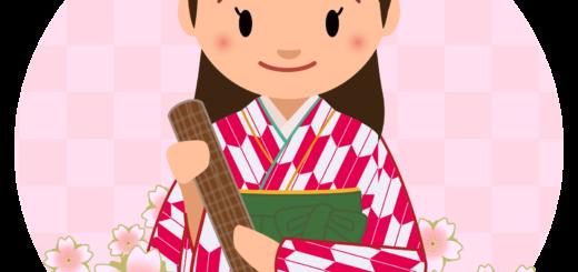 商用フリー・無料イラスト_大学卒業式_袴姿の女の子_矢絣_紅__桜花びらsotsugyo024