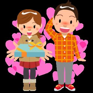 商用フリー・無料イラスト_2月_バレンタイン_男性にチョコを渡す女の子_ハート_Valentine068