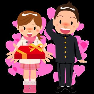 商用フリー・無料イラスト_2月_バレンタイン_男性にチョコを渡す女の子_ハート_Valentine070