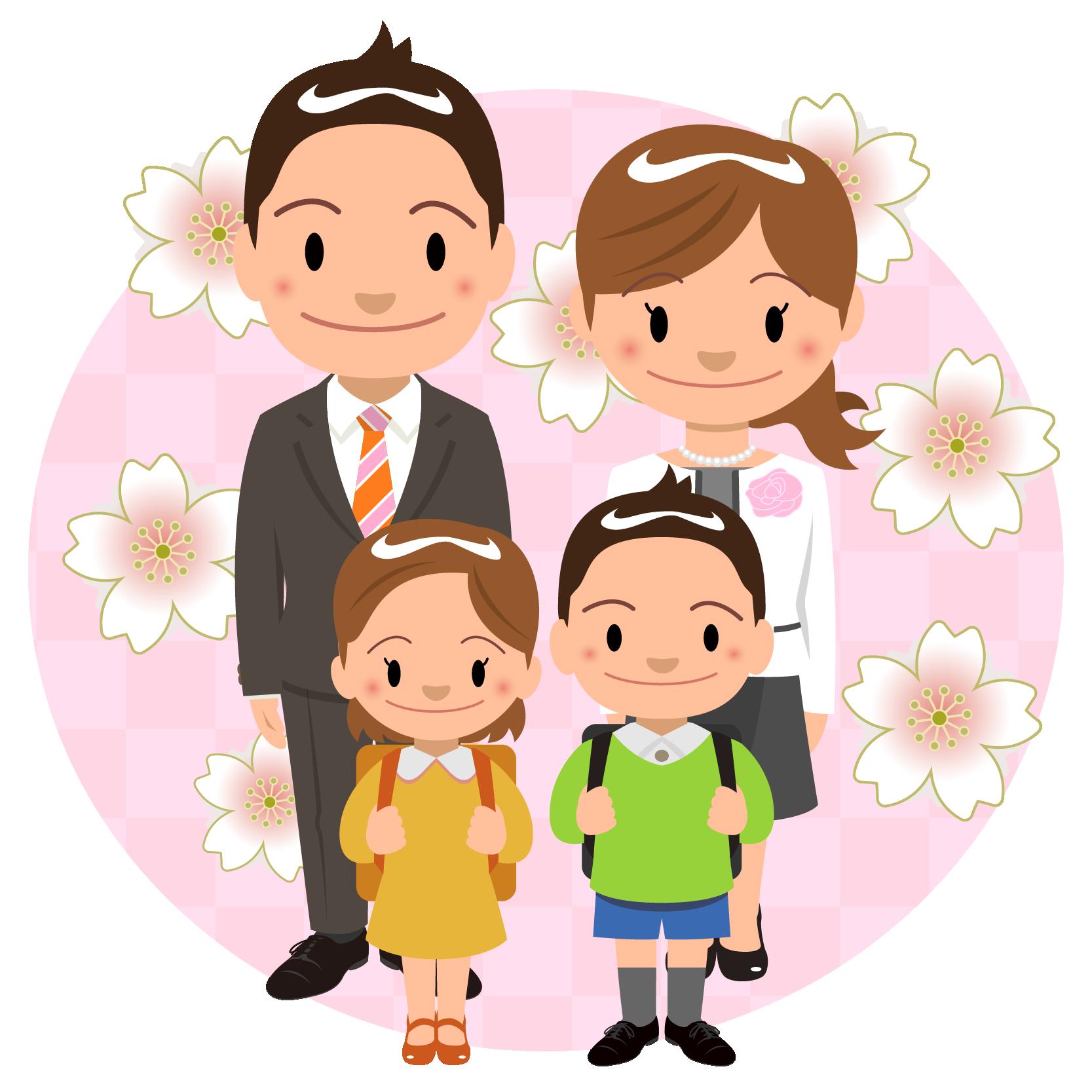 商用フリー・無料イラスト_4月_入学式_家族_小学生_桜