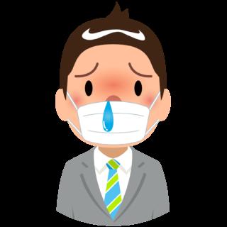 商用フリー・無料イラスト_杉(すぎ)花粉症_男性_マスク_鼻水_cedar pollen allergy_kafun002