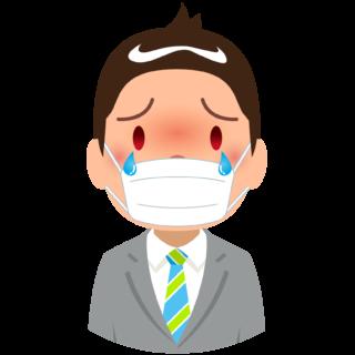商用フリー・無料イラスト_杉(すぎ)花粉症_男性_マスク_目のかゆみ_cedar pollen allergy_kafun003
