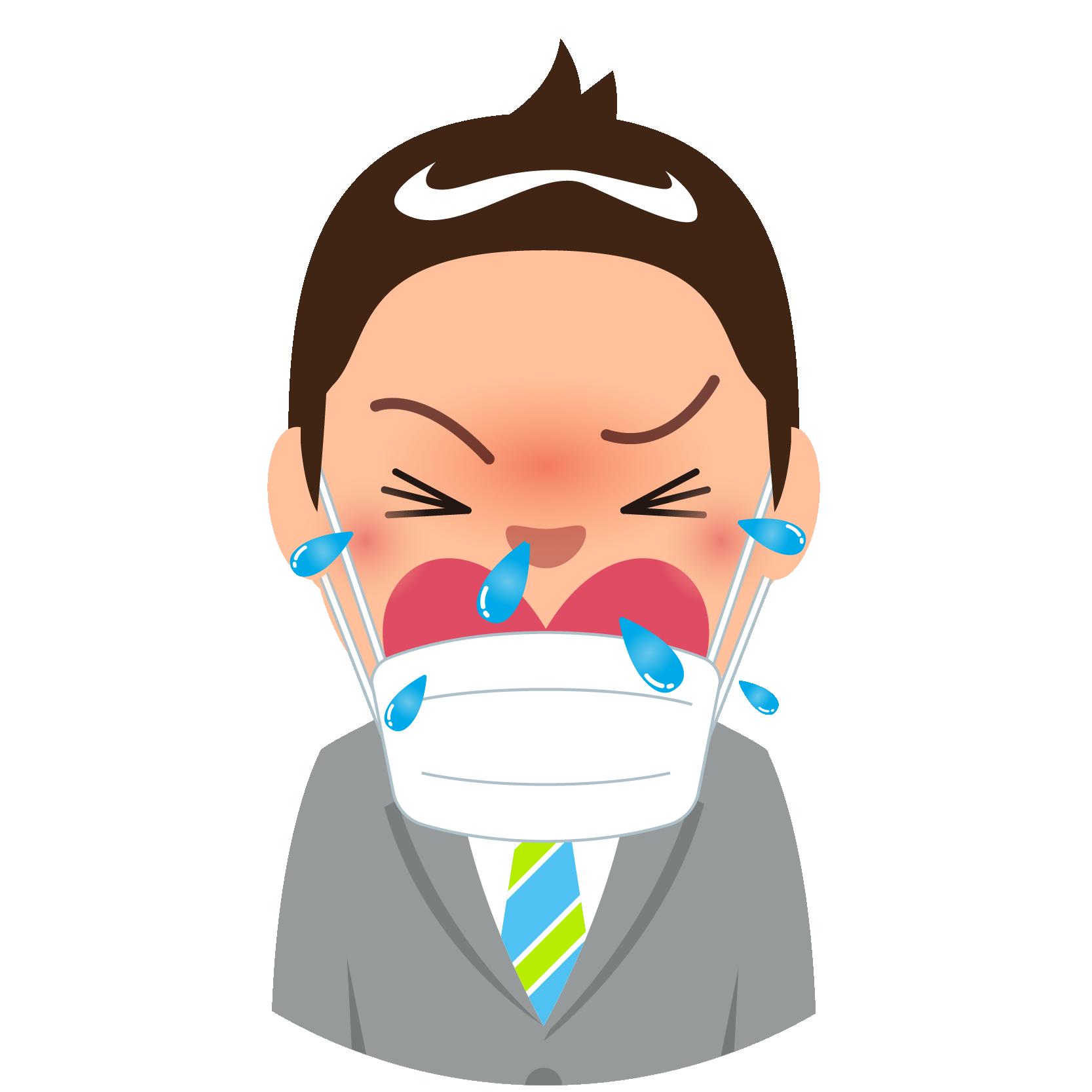 商用フリー・無料イラスト_杉(すぎ)花粉症_男性_マスク_くしゃみ_cedar pollen allergy_kafun004