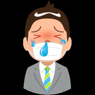 商用フリー・無料イラスト_杉(すぎ)花粉症_男性_マスク_目のかゆみ_鼻水_cedar pollen allergy_kafun006