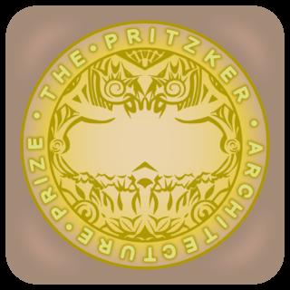 商用フリー無料イラスト_プリツカー賞_メダル_ベージュケース_The Pritzker Architecture Prize_006