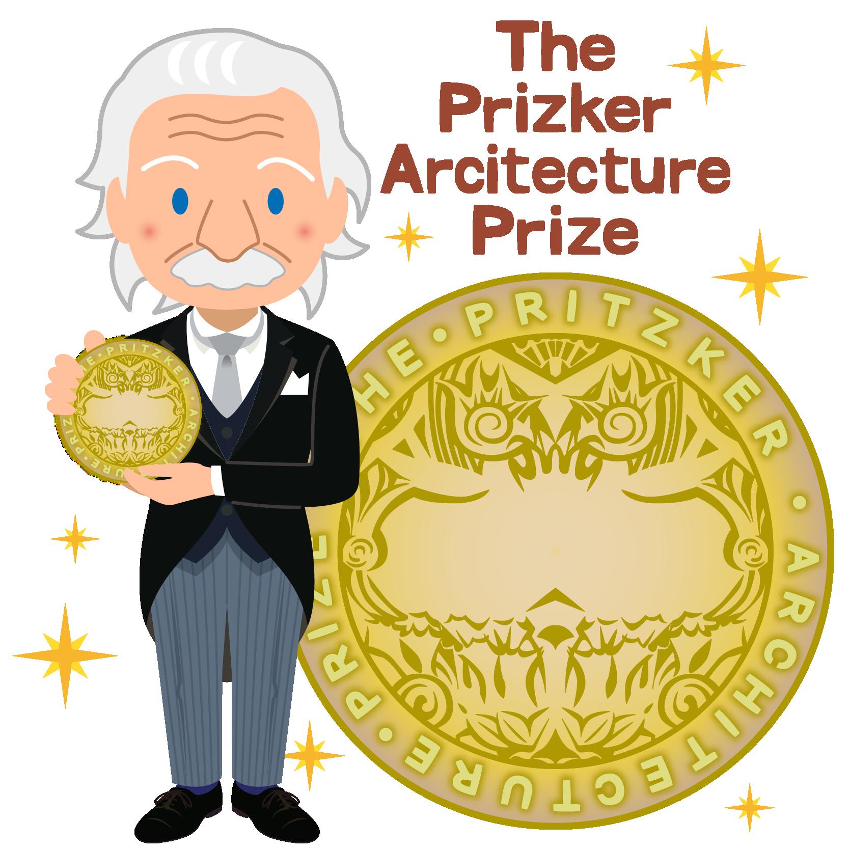 商用フリー無料イラスト_プリツカー賞_表彰_燕尾服_男性_外国人_メダル大_The Pritzker Architecture Prize_016