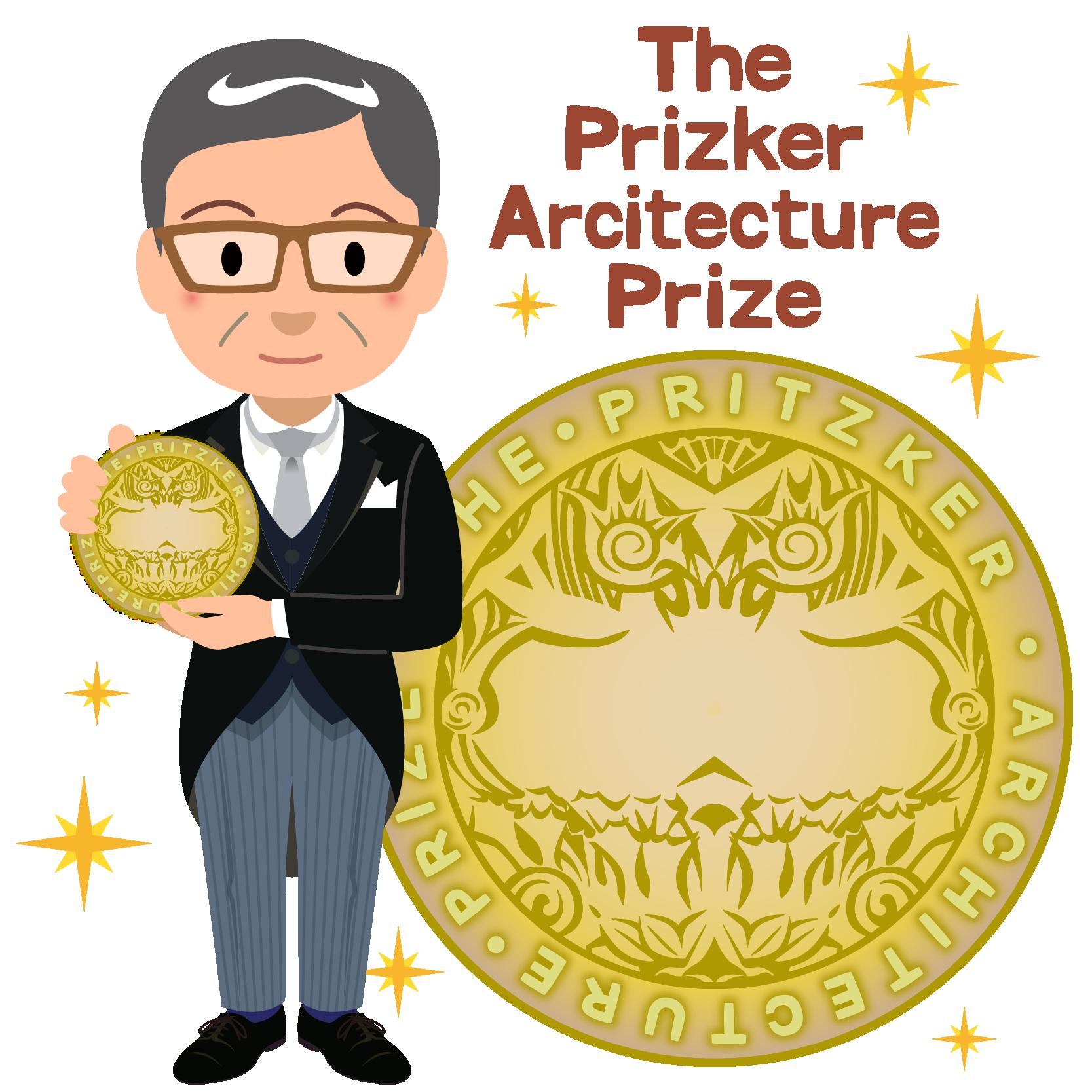 商用フリー無料イラスト_プリツカー賞_表彰_燕尾服_男性B_メダル大_The Pritzker Architecture Prize_018