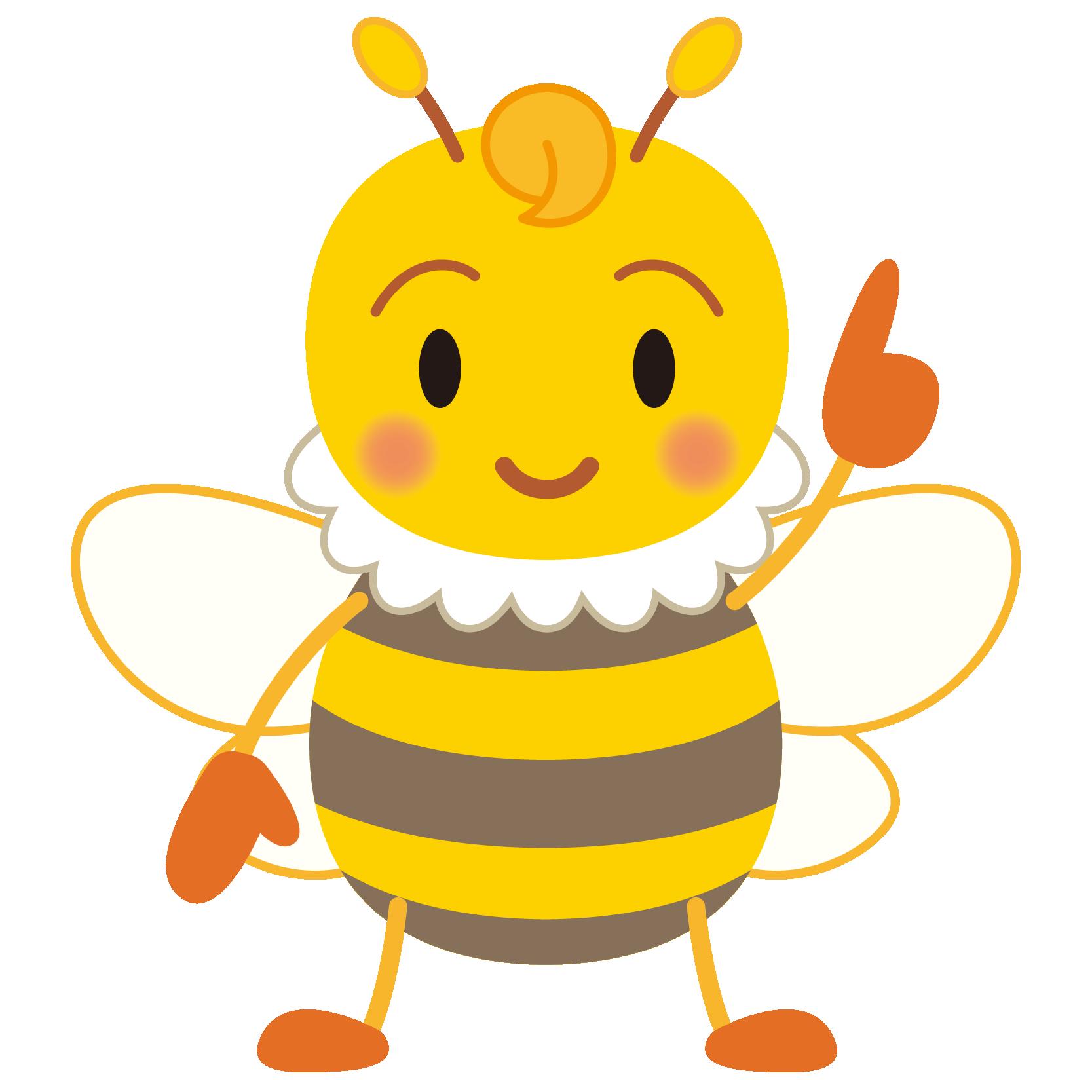商用フリー・無料イラスト_指差しみつばち(蜂)_Honeybee007