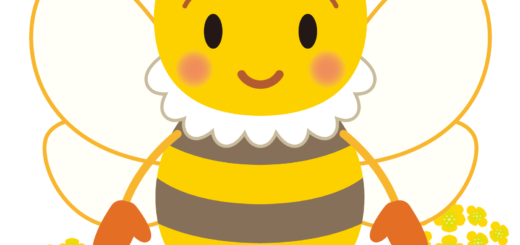 商用フリー・無料イラスト_みつばち(蜂)_菜の花_Honeybee011