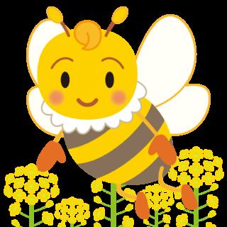 商用フリー・無料イラスト_みつばち(蜂)_菜の花_Honeybee012