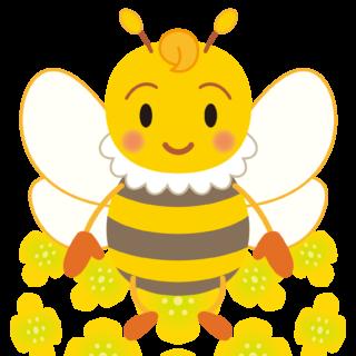 商用フリー・無料イラスト_みつばち(蜂)_菜の花_Honeybee015