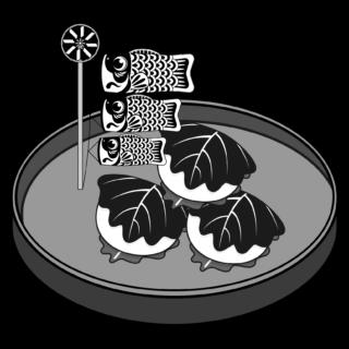 商用フリー・無料イラスト_5月端午の節句_鯉のぼりと柏餅(かしわもち)_モノクロ_tangonosekku44