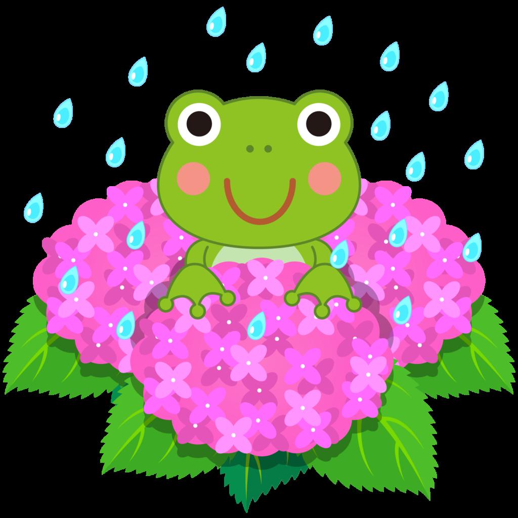 商用フリー・無料イラスト_あじさいの花(紫陽花)ピンク_かえる_ajisai09