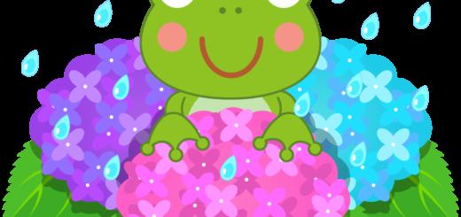 商用フリー・無料イラスト_あじさいの花(紫陽花)紫・ピンク・水色_かえる_ajisai11