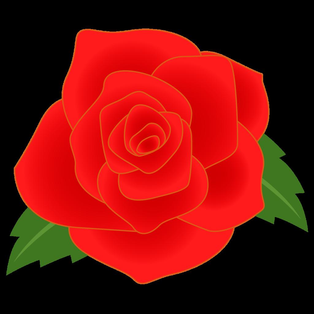 商用フリー・無料イラスト_赤いバラの花_rose01