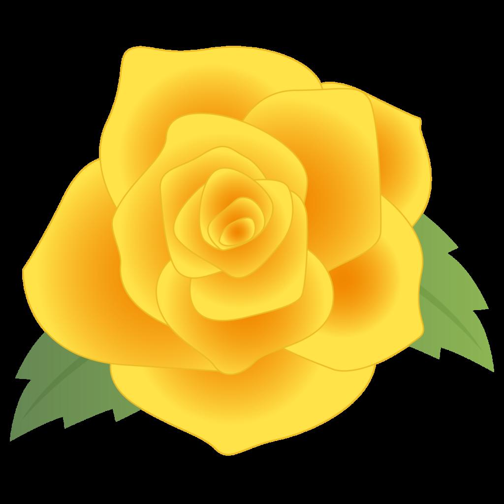 商用フリー・無料イラスト_黄色いバラの花_rose03