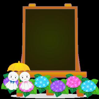 商用フリー・無料イラスト_あじさいの花(紫陽花)イーゼル(キャンバス)黒板_6gatsu08