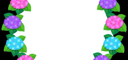 商用フリー・無料イラスト_あじさいの花フレーム(紫陽花)紫・ピンク・水色_ajisai20