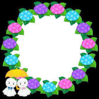 商用フリー・無料イラスト_あじさいの花フレーム(紫陽花)紫・ピンク・水色_ajisai21
