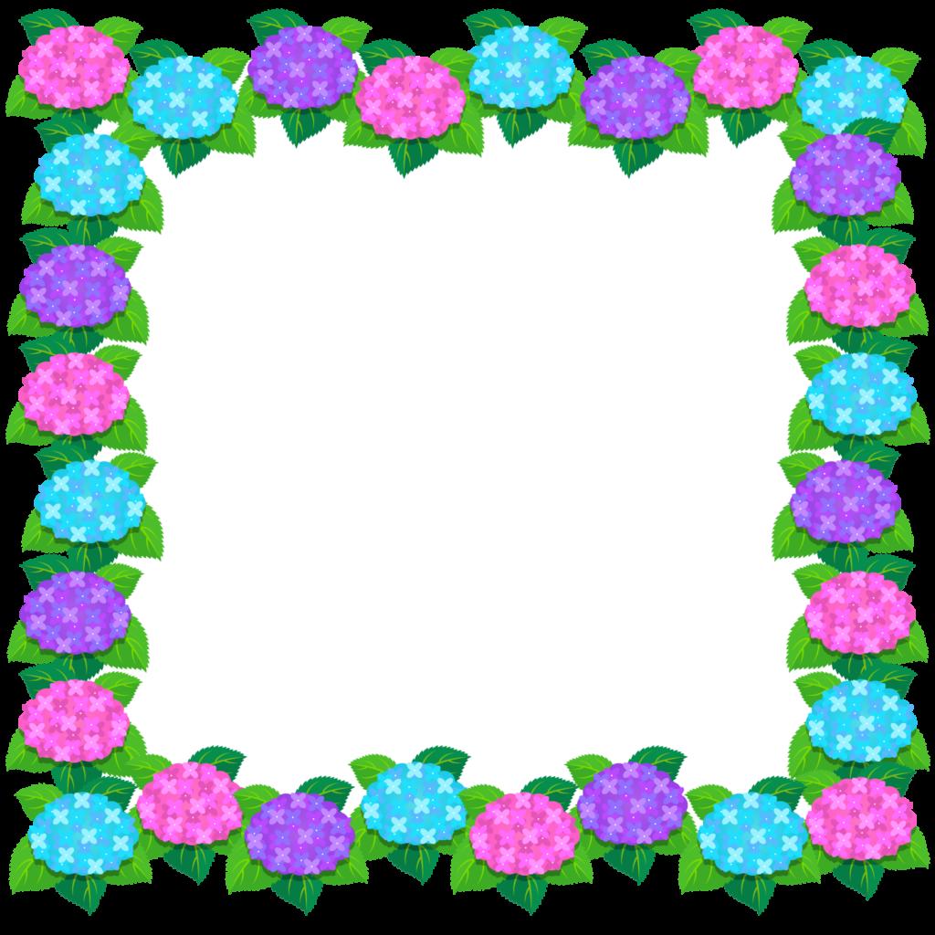 商用フリー・無料イラスト_あじさいの花フレーム(紫陽花)紫・ピンク・水色_ajisai22