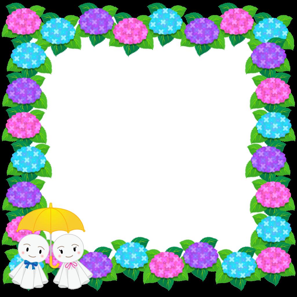 商用フリー・無料イラスト_あじさいの花フレーム(紫陽花)紫・ピンク・水色_ajisai23