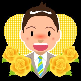 イラスト_6月_父の日_お父さん_男性_黄色バラ_038