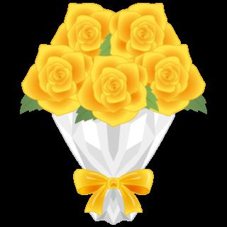 商用フリー・無料イラスト_黄色のバラの花束_rose09