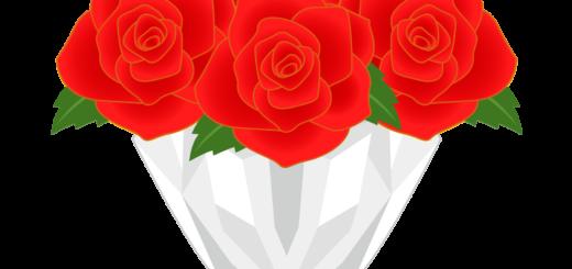 商用フリー・無料イラスト_赤色のバラの花束_rose10