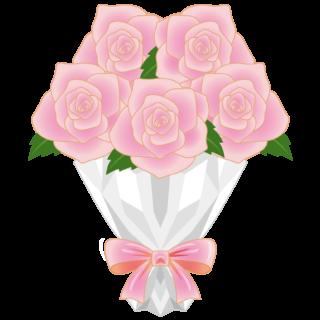 商用フリー・無料イラスト_ピンクのバラの花束_rose12