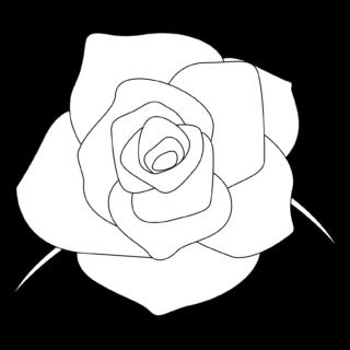 商用フリー・無料イラスト_モノクロのバラの花_rose13
