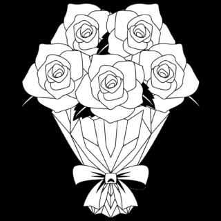 商用フリー・無料イラスト_モノクロのバラの花束_rose15