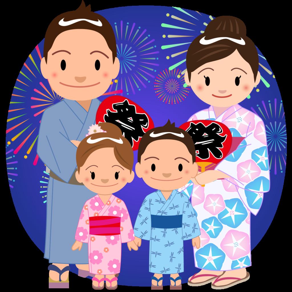 商用フリー・無料イラスト_お祭り_打ち上げ花火を見る家族_hanabi002
