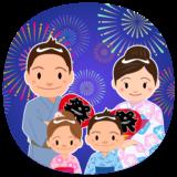 商用フリー・無料イラスト_お祭り_打ち上げ花火を見る家族_hanabi003