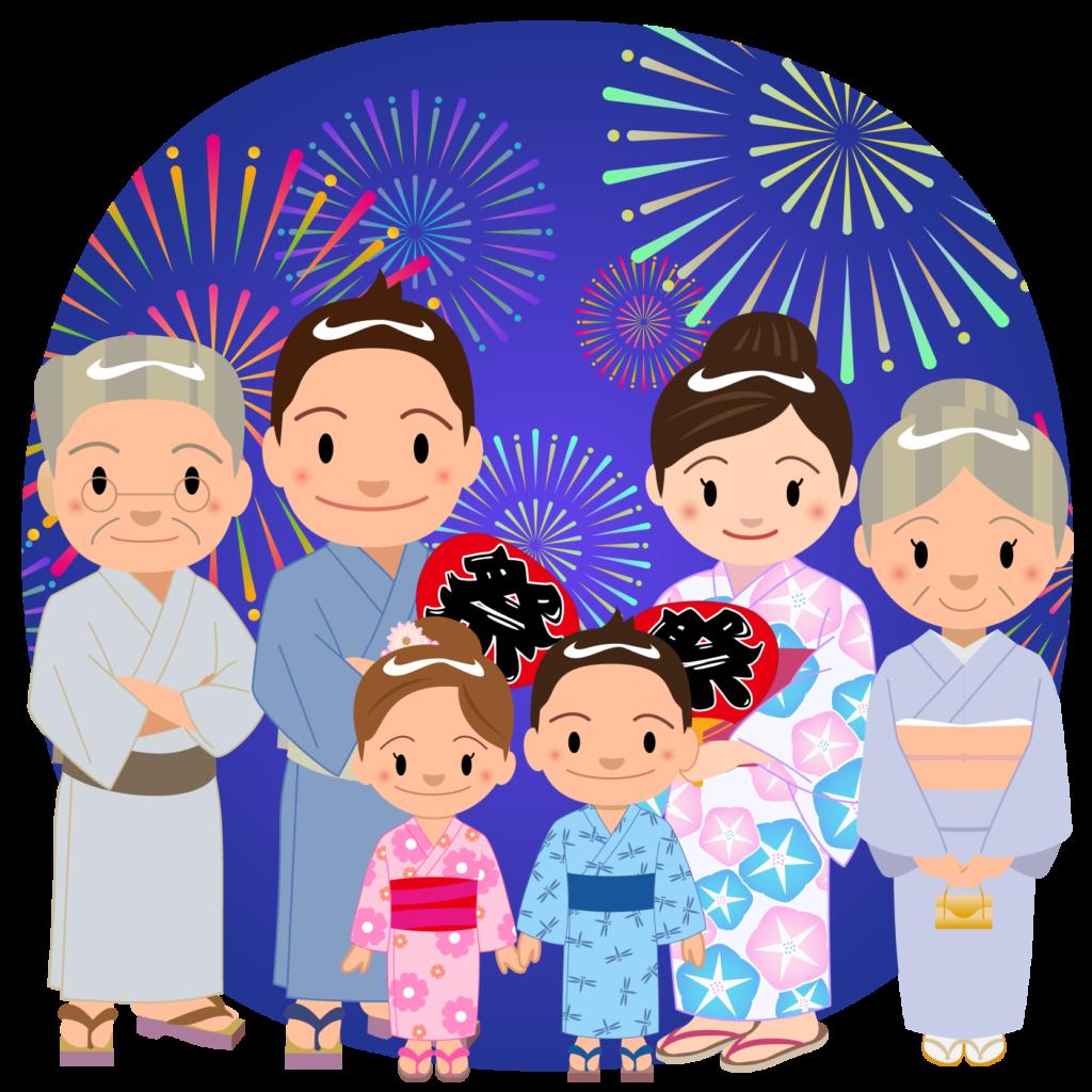 商用フリー・無料イラスト_お祭り_打ち上げ花火を見る家族_hanabi004