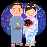 商用フリー・無料イラスト_お祭り_打ち上げ花火を見る男女_hanabi006