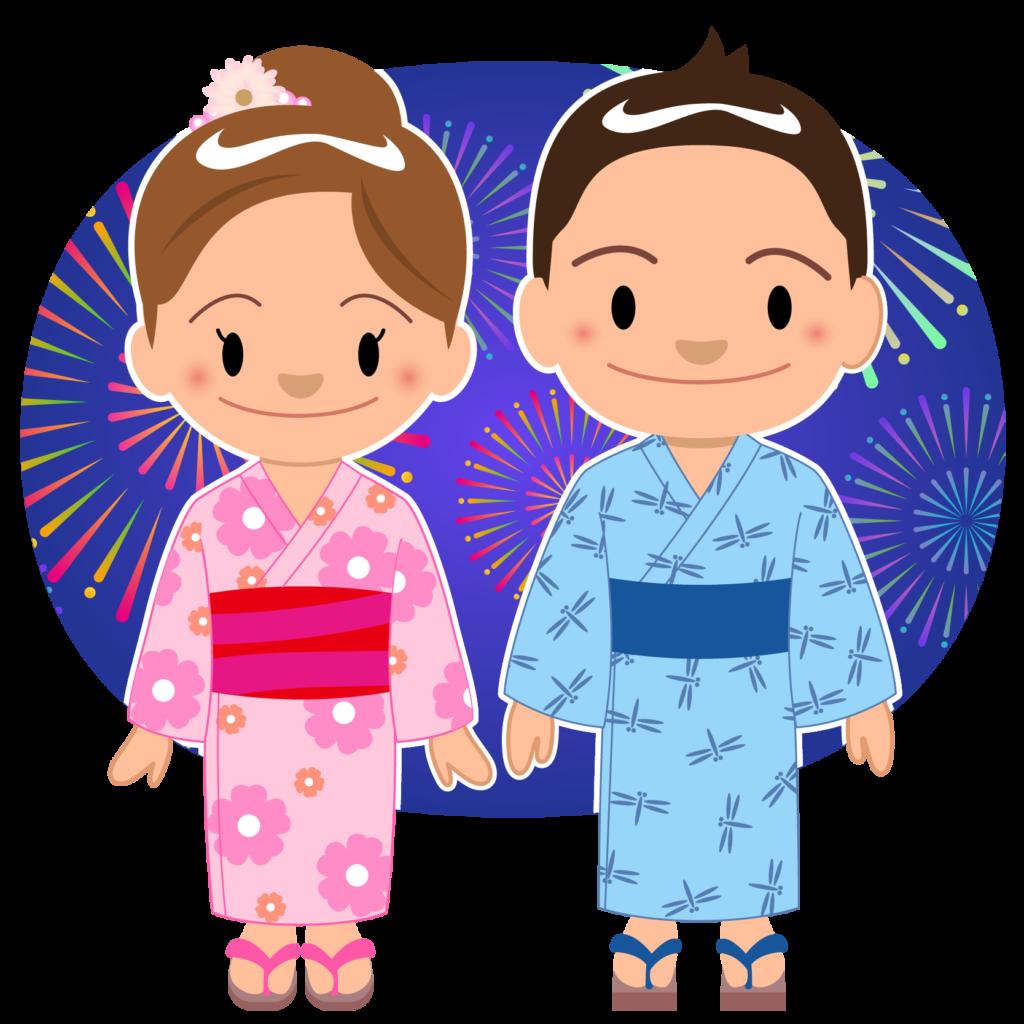 商用フリー・無料イラスト_お祭り_打ち上げ花火を見る男の子と女の子_hanabi007