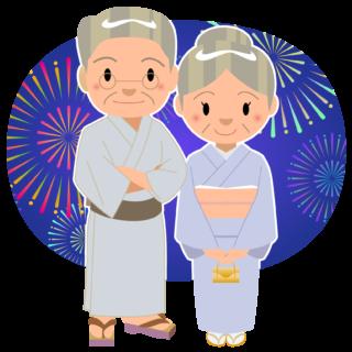 商用フリー・無料イラスト_お祭り_打ち上げ花火を見るおじいちゃんおばあちゃん_hanabi008