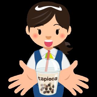 商用フリー・無料イラスト_タピオカドリンクを持つ笑顔で嬉しそうな女性_tapioca023