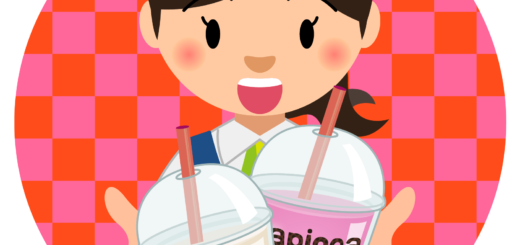 商用フリー・無料イラスト_タピオカドリンクを持つ笑顔で嬉しそうな女性_tapioca026
