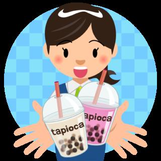 商用フリー・無料イラスト_タピオカドリンクを持つ笑顔で嬉しそうな女性_tapioca027
