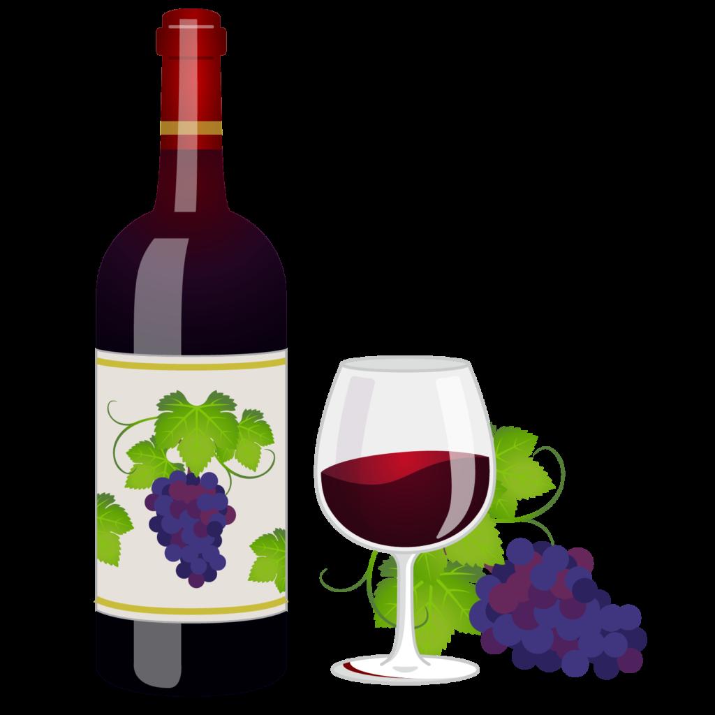 商用フリー無料イラスト_ワインボトル&グラス赤_ボルドーBordeaux_Wine007