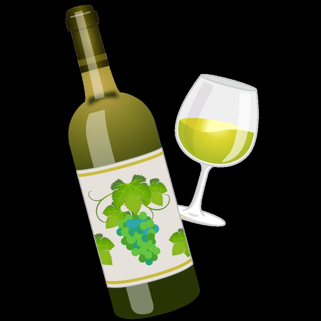 商用フリー無料イラスト_ワインボトル&グラス白_ボルドーBordeaux_Wine011
