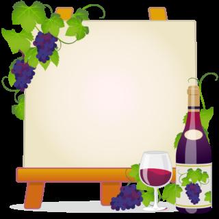 商用フリー無料イラスト_ワイン&イーゼルキャンバスフレーム_WineFrame019
