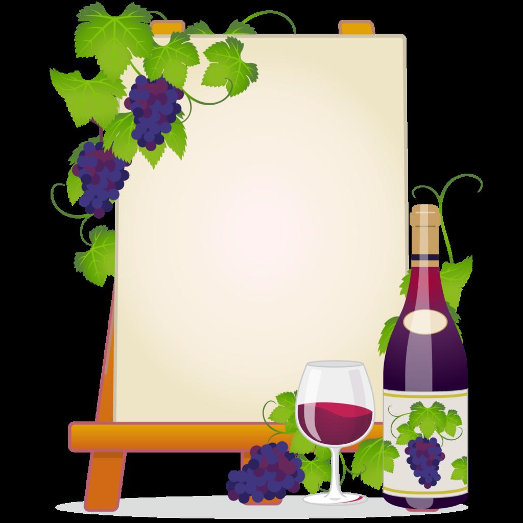 商用フリー無料イラスト_ワイン&イーゼルキャンバスフレーム_WineFrame020