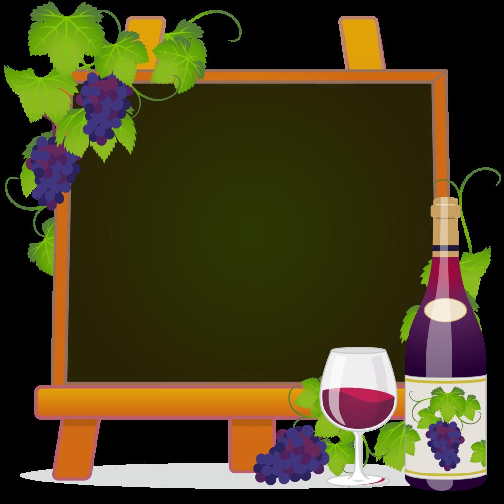 商用フリー無料イラスト_ワイン&イーゼルキャンバス黒板フレーム_WineFrame021