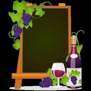 商用フリー無料イラスト_ワイン&イーゼルキャンバス黒板フレーム_WineFrame022