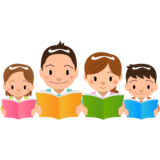 商用フリー・無料イラスト_読書の秋_家族_Reading Book_Dokushonoaki023
