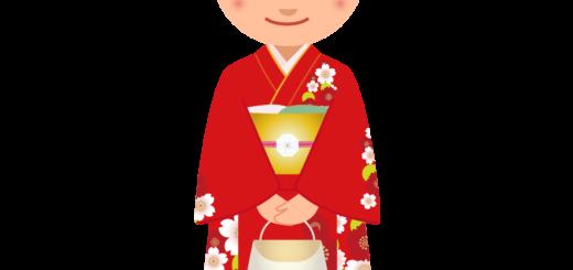 商用フリー・無料イラスト_赤い着物を着た女性_kimono001-2
